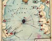 Antique Map Battle of Fort Sumter 1861 Civil War