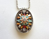 Ultimate Mosaic Pendant Necklace Turquoise,Copper, Starburst, Silver