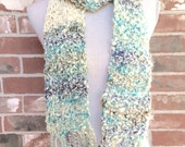 Snow Day Scarf Blue and White Hand Knit Chunky Scarf - Industrial Whimsy - Clouds and Sky
