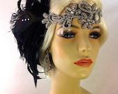 Great Gatsby Headband, Downton Abbey, Art Deco Flapper Headband, 1920s Headpiece, Daisy Buchanan, 1920s Flapper, Black and Silver Headband