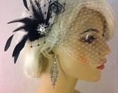 Feather Hair Fascinator, Wedding Hair Clip, Bridal, Prom, Wedding Hairpiece, Great Gatsby, Black and White Birdcage, Veil Set