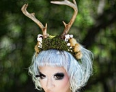 Antler headband - moss and mushroom woodland headdress - Mori lolita deer faun costume