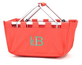 SHIPS NEXT DAY---Monogrammed Large Coral Market Tote Basket --Free Monogramming--The Perfect Birthday Gift---