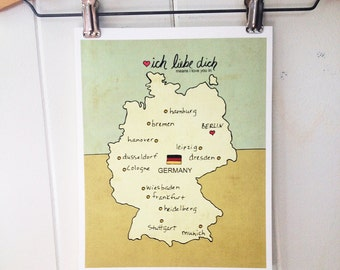 Map Wall Art Children Decor // I Love You in Germany No.7 // Illustration Travel Poster