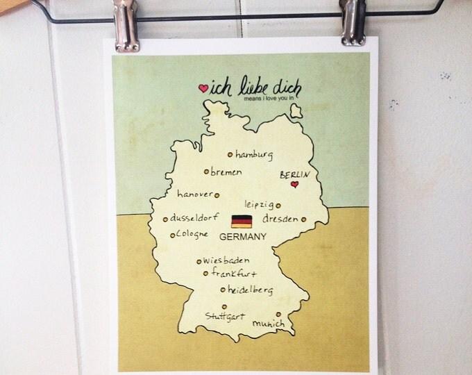 Map Wall Art Children Decor // I Love You in Germany // Illustration Travel Poster Nursery Decor, Kids Room Art, German, Pink, Blue, Yellow