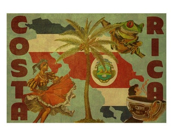 COSTA RICA 2F- Handmade Leather Passport Cover / Travel Wallet - Travel Art