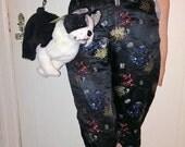 90s black satin chinese brocade pants size M