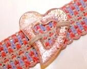 Glass Heart hemp bracelet cuff, macrame, pink, heart, hemp jewelry, Valentine's day, hippie, boho, bohemian