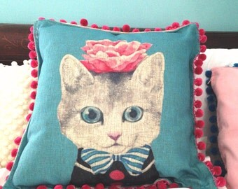 Fancy Metro Kitten Pillow Cover