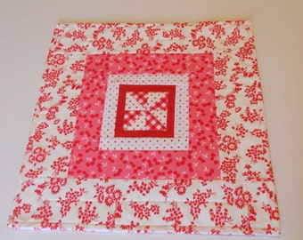 Quilted Table Topper, Pinwheel Table Topper, Quilted Table Runner, Mini Quilt, Cottage Chic Runner, Cherries, Red Pink White