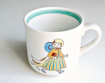 Arabia Finland Children's Cup Little Girl with  Goose Vintage Mug