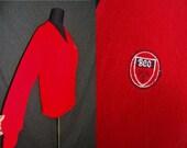 Cherry Red PREPPY Vintage 1960's Women's BCC Cardigan Sweater M L