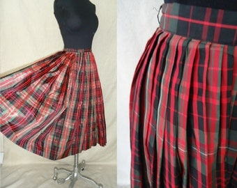 XMAS Green & Red Plaid Pleated Vintage 1950's Rockabilly Full Skirt XS S
