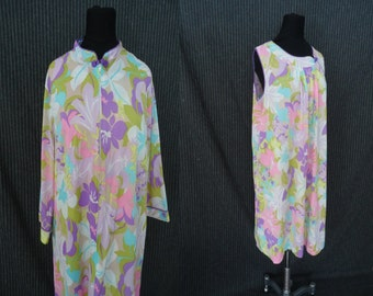 Pastel Floral Nyoln Vintage 1960's MOD Lorraine Negligee Nightgown Set L