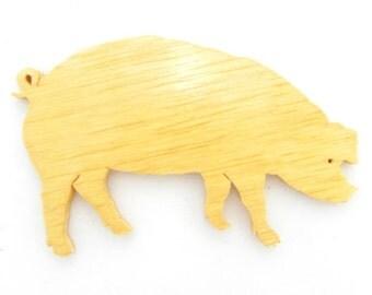 Wooden Pig, Wood Pig, Pig Cut Out, Pig Ornament, Pig Pin, Pig Magnet, Pig Fridge Magnet, Farm Animal, Farm Animal Magnet, Farm Animal Cut