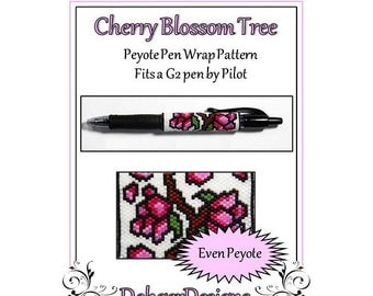 Bead Pattern Peyote(Pen Wrap/Cover)-Cherry Blossom Tree