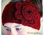 Crochet Flower Headband head wrap earwarmer - adult size - red