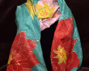 Poinsettia Scarf Handpainted Silk