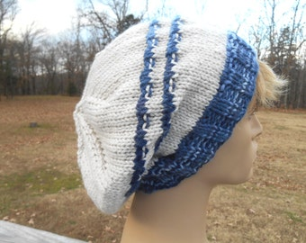 Adult Mens Slouch Hat. Cream with Blue Stripes. Mens Beanie. Winter Hat.