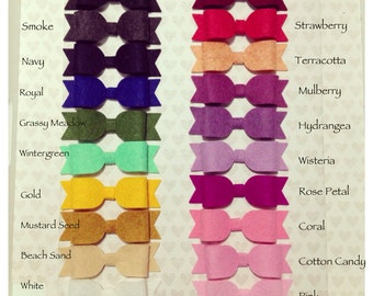FELT BOW Headband + FELT Bowtie Hair Clips:  20 Colors + Merino Wool + Newborn Baby Girl Headband + Toddler Hair + Small Felt Bow Barrette