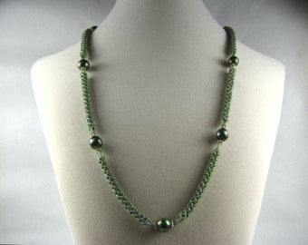 Olive Green Freshwater Pearls and Russian Spiral Weave Necklace - Over the Head