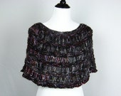 Lacy Capelet, Hand Knit, Burgundy, Purple, Black, Grey Wool Blend Yarn, Handmade, Shawl, Wrap, Poncho, Deep Rich Tones, Seamless, Cozy Wrap