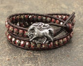 Unique Horse Jewelry Silver Red Horse Bracelet Colorful Bohemian Equestrian Jewelry