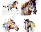 Set of 4 Ceramic HORSE Coasters by Dean Crouser