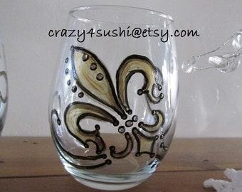 2 Gold Fleur De Lis Stemless Wine Glass Hand Painted