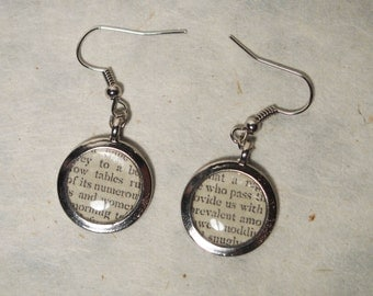 Vintage Newspaper Earrings