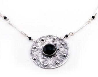 Art Deco Jewelry | Starburst Necklace | Black Onyx Pendant