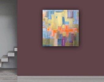 "Abstract Acrylic Painting Original Fine Art 30""x30"" by Linnea Heide - geometric - madmen - subtle colorful"