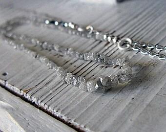 Rough Diamond Necklace 36 inch Boho Necklace Opera Length Rough Diamond Raw Diamond Artisan Handmade Necklace Diamond Necklace Unique Boho