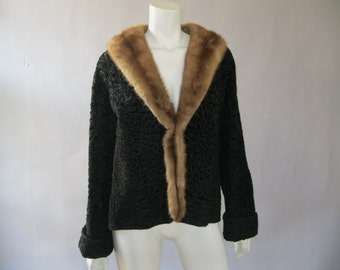 Vintage  1950s Curly Lamb  and Mink Jacket - Swing Fur Coat