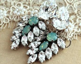 Bridal Chandelier Earrings, Mint Earrings, Mint Bridal Earrings, Mint Drop Earrings, Silver Oxidized Earrings,Swarovski Bridal Chandeliers