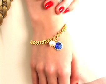 Sapphire Braclet Swarovski Bracelet Blue Sapphire Swarovski Bracelet Something Blue trending jewelry Charm Gold Bracelet Pearl Bracelet