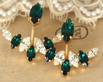 Ear Jacket Earrings, Emerald Swarovski earrings,Ear jacket Crystal Earrings,Gift For her,Bridal Earrings,Emerald Stud Earrings,Ear Jackets
