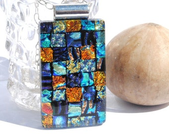 Fused Glass Jewelry, Dichroic Glass, Glass Jewelry, Dichroic Pendant, Quilt Squares, IntoTheLight, Bold Colors, Mosaic (Item #10701-P)