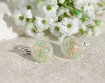 Clip-On Studs, Fused Glass Jewelry, Fused Glass Earrings, Glass Earrings, Pastel, Spring Colors, Bubbles, Round Earrings (Item #30662-E)