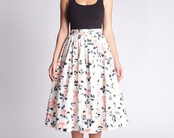 Floral midi skirt Floral party skirt 1950 skirt Pleated skirt Pink skirt Full skirt with pockets Handmade Womens skirts Ladies skirt
