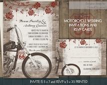 Motorcycle Wedding Invitations | Biker Bride Wedding Invitations for Biker Weddings | Digital Printable Vintage Motorcylce Harley Files
