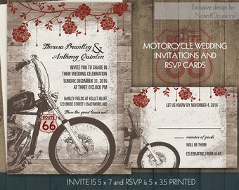 Motorcycle Wedding Invitations | Biker Bride Wedding Invitations for Biker Weddings | Digital Printable Vintage Motorcylce Harley Files