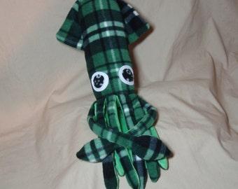 Made to Order Oscar McSquidlan - Green Black and White Plaid Fleece Squid Plushie Stuffed Animal