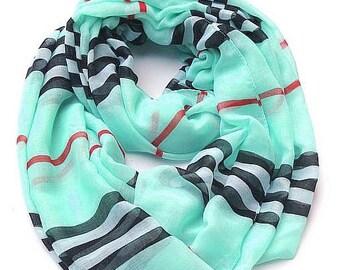 Infinity Scarf-PLAID-SKY BLUE-women Stripe Scarves, Loop Scarfs, Infinity Plaid Scarves,Plaid Infinity Scarf,Fashion Scarves