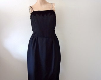 1950s Party Dress - black wiggle dress - vintage cocktail attire