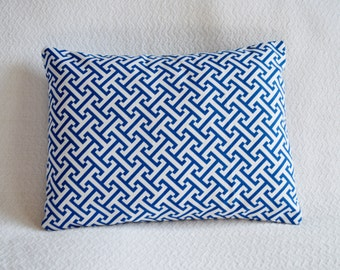 CLEARANCE!! Blue and White Graphic Greek Key Pillow Cover 12x16