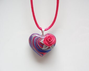 Blue and pink heart necklace with pink rose hand made from polymer clay