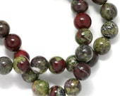 Dragon Blood Jasper Beads - 6mm Round - Half Strand