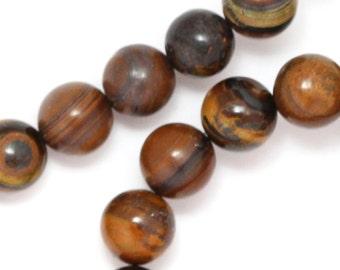Tiger Iron Beads - 8mm Round - Full Strand