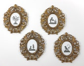 Antique Cast Metal Picture Frames Set of Four Matching Hanging Oval Gold Tone 11.5 inches Tall Home Decor French Cottage Hollywood Regency